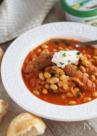 『ジュースですぐウマ♡『ウインナーと大豆のトマト味噌スープ』』