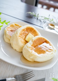 『ホットケーキミックスでふわふわ!スフレパンケーキ』