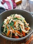 水菜とえのきのツナポンおかか和え【#時短#レンジ#湯かけ】