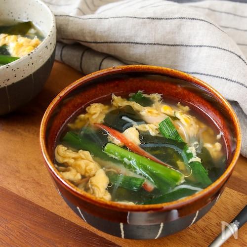 包丁いらず*鶏の茹で汁で♪かに玉春雨スープ