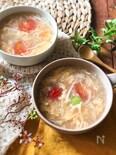 『節約おいしい♡』トマトとたまごのとろみスープ