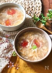 『『節約おいしい♡』トマトとたまごのとろみスープ』