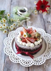 『低糖質!材料4つ!生チョコスフレチーズケーキ』
