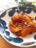 マヨ醤油が隠し味♡かぼちゃとベーコンのガーリック炒め