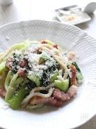 贅沢パルミジャーノのベーコンと青菜のアンチョビ焼うどん