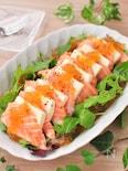 もっちり塩豆腐とサーモンのポン酢ジュレサラダ