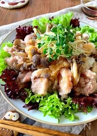 『【鶏モモとしめじのさっくり揚げ】簡単美味しいおろしダレで』