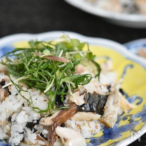 焼き鯖の薬味混ぜご飯