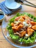 柿とモッツァレラチーズと生ハムのバルサミコソースサラダ