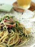 和えるだけで簡単☆塩昆布と水菜のピリッと冷製和風パスタ