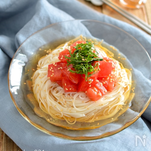 トマトの中華風そうめん。暑い日のランチや夕食に♪