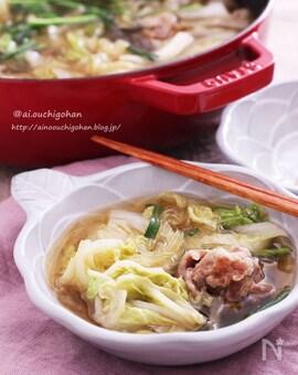 白だし和風スープで豚こまだんごと白菜の春雨スープ煮♡