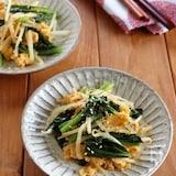 小松菜ともやしの卵炒め