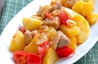 鶏肉とじゃがいもとトマトのにんにくマヨ炒め
