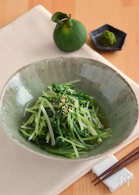 『水菜のゆずこしょう和え。レンジで簡単!和風の副菜。』