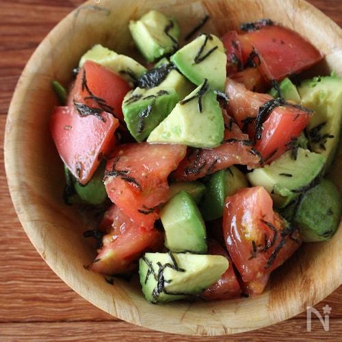 トマトとアボカドの海苔サラダ