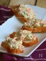 桜エビとクリームチーズのおつまみカナッペ