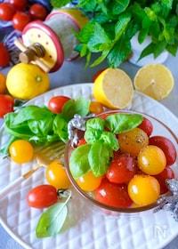 『【まるでデザート】カラフルプチトマトのはちみつレモン塩マリネ』