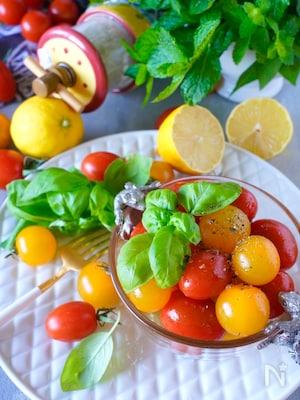 【まるでデザート】カラフルプチトマトのはちみつレモン塩マリネ