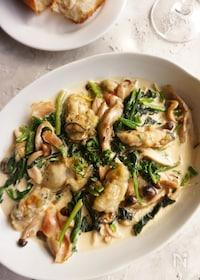 『牡蠣とほうれん草の濃厚クリーム煮』