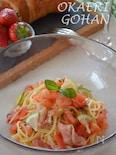 トマトと生ハムの冷製パスタ ライムとミントの香り
