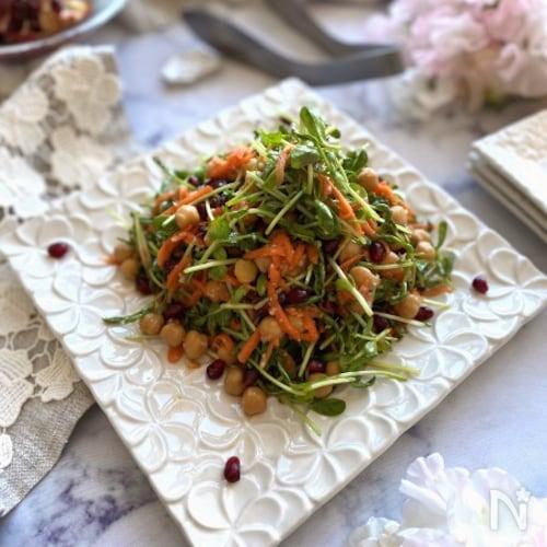 抱えて食べたい!豆苗とひよこ豆の塩麹サラダ
