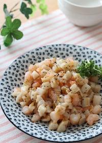 『食感も楽しむシンプル炒め♡コロコロれんこんとむき海老の塩炒め』