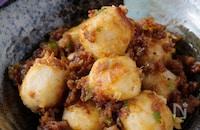 ねっとり濃厚!ご飯に超合う!豚ひき肉と里芋のネギ味噌炒め
