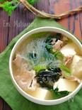小松菜と豚肉と豆腐のさっぱり春雨スープ