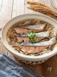 鮭と舞茸の炊き込みごはん。しょうが香る♪秋の料理。