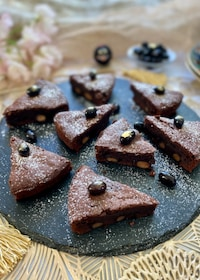 『混ぜるだけの黒豆入りの濃厚チョコレートケーキ』