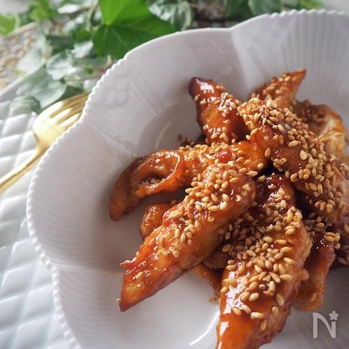 切り方が柔らかさのポイント*鶏むね肉の甘辛セサミチキン