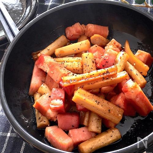 食感も楽しめるおつまみ♡ごぼうとれんこんとベーコンの炒め煮