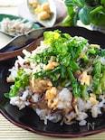 【混ぜるだけ炒飯】菜の花とじゃこの炒めない炒飯