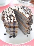 黒ごまパンケーキ チョコレートソース