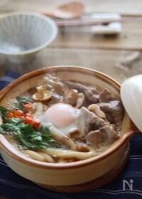 『【ごちそううどん】土鍋すき焼き煮込みうどん♪』