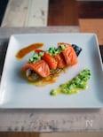 秋茄子とサーモンのマリネ。きゅうりドレッシングを添えて。