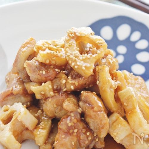 鶏肉とレンコンの揚げ焼き、みそ醤油味