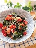 さっぱりヘルシーサラダ♡トマトとわかめとしらすの中華サラダ