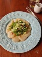 水菜とホタテのわさび醤油カルパッチョ