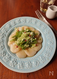 『水菜とホタテのわさび醤油カルパッチョ』