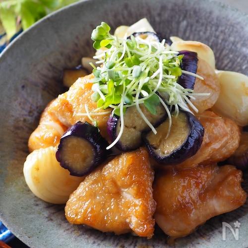 ご飯が進む*鶏むね肉ととろとろ茄子と新たまねぎのポン酢炒め