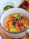 豚肉の香味にんにくスープ【レンジで簡単★具だくさん】