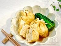 麺つゆde簡単♡じゅわーっとウマい!豆腐入り鶏つみれの巾着煮