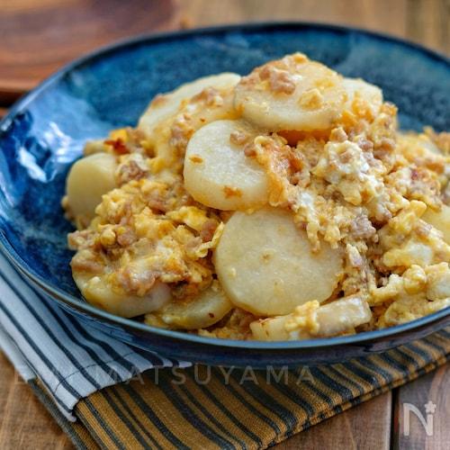 *長芋とひき肉の卵チーズ炒め*