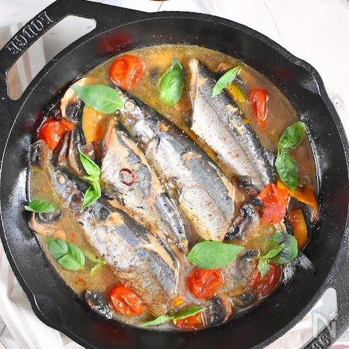 【魚でご馳走!】秋刀魚の焼きアクアパッツァ
