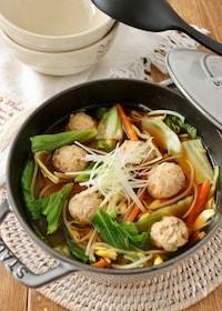 『鶏団子とシャキシャキ野菜の具だくさん味噌汁』