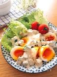 食感最高♪やみつきサラダ♡半熟卵とオクラのごまマヨ和え