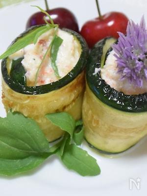 カニ缶◆ズッキーニのカニ豆腐ペースト巻き◆