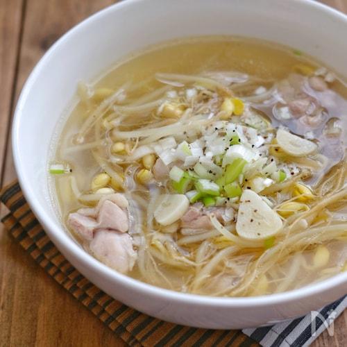 具沢山*豆もやしと鶏肉のにんにくスープ*